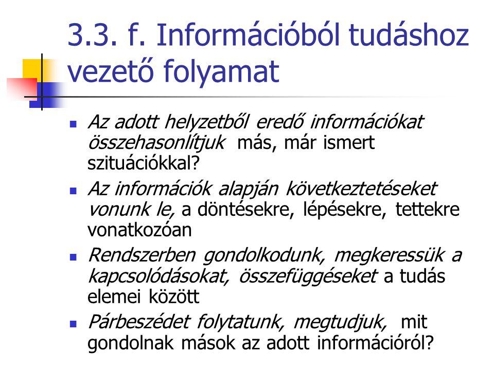 3.3. f. Információból tudáshoz vezető folyamat