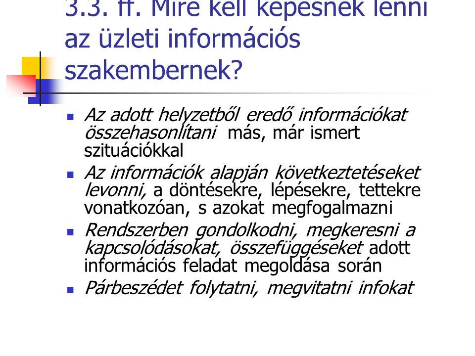 3.3. ff. Mire kell képesnek lenni az üzleti információs szakembernek