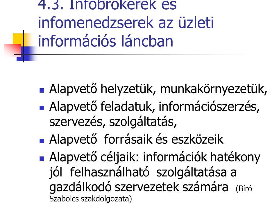 4.3. Infobrokerek és infomenedzserek az üzleti információs láncban