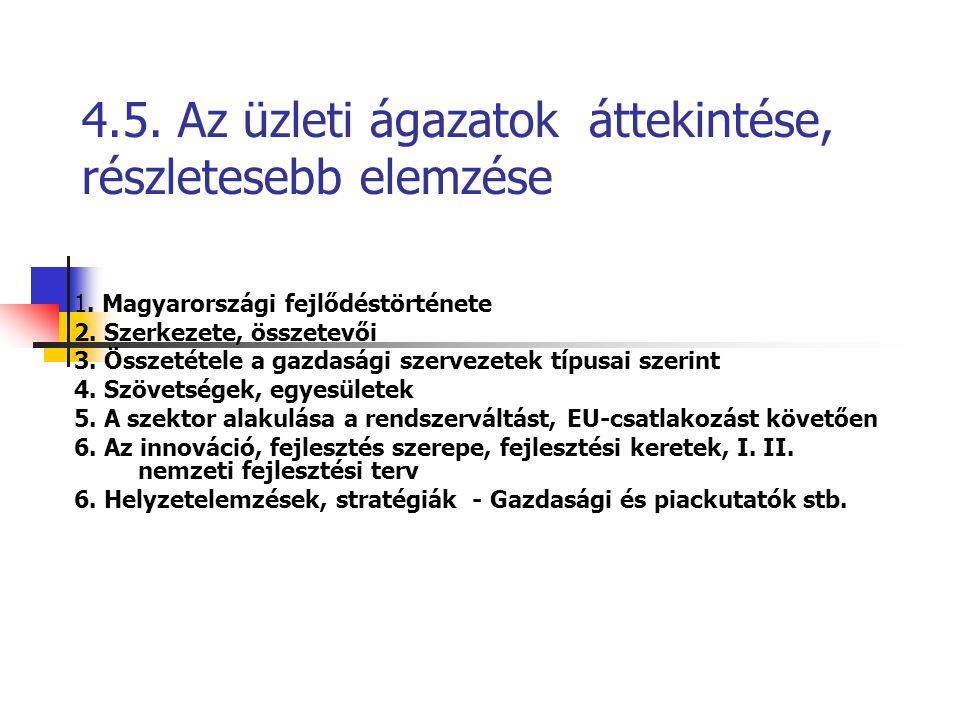 4.5. Az üzleti ágazatok áttekintése, részletesebb elemzése