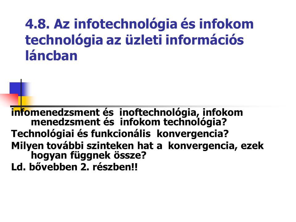 4.8. Az infotechnológia és infokom technológia az üzleti információs láncban