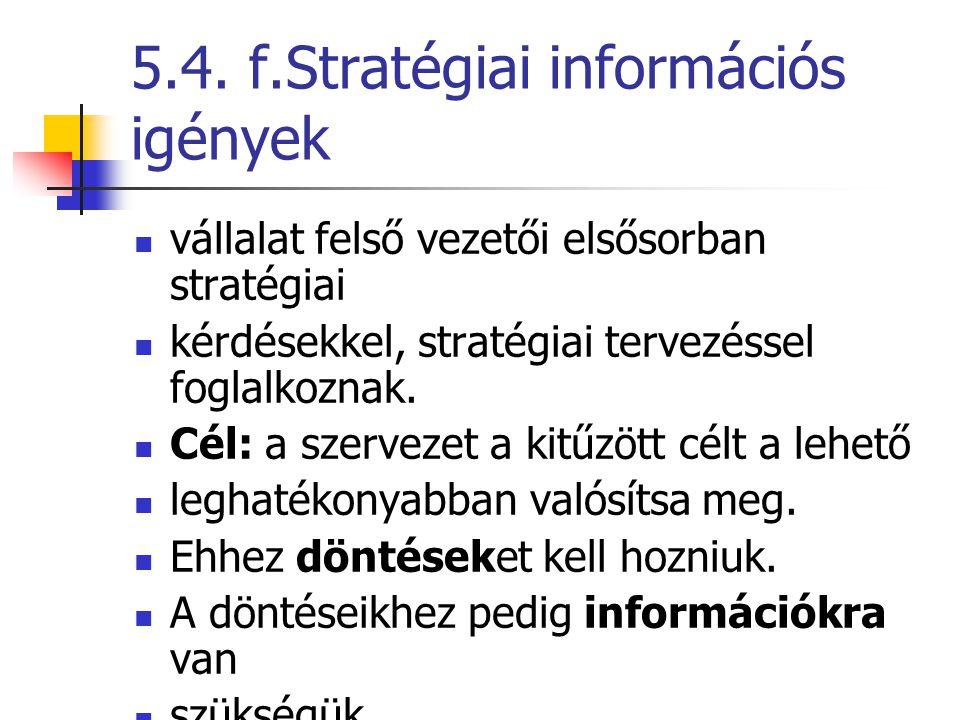 5.4. f.Stratégiai információs igények
