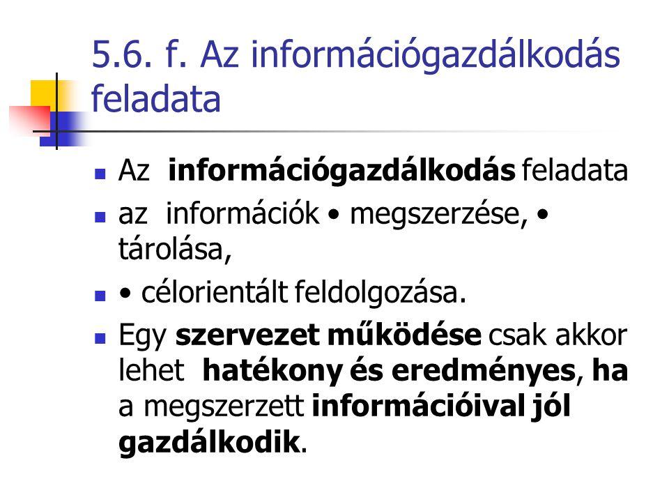 5.6. f. Az információgazdálkodás feladata
