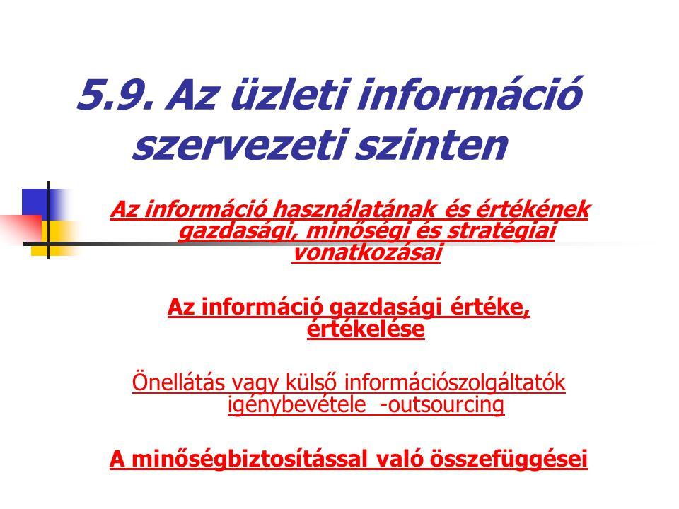5.9. Az üzleti információ szervezeti szinten