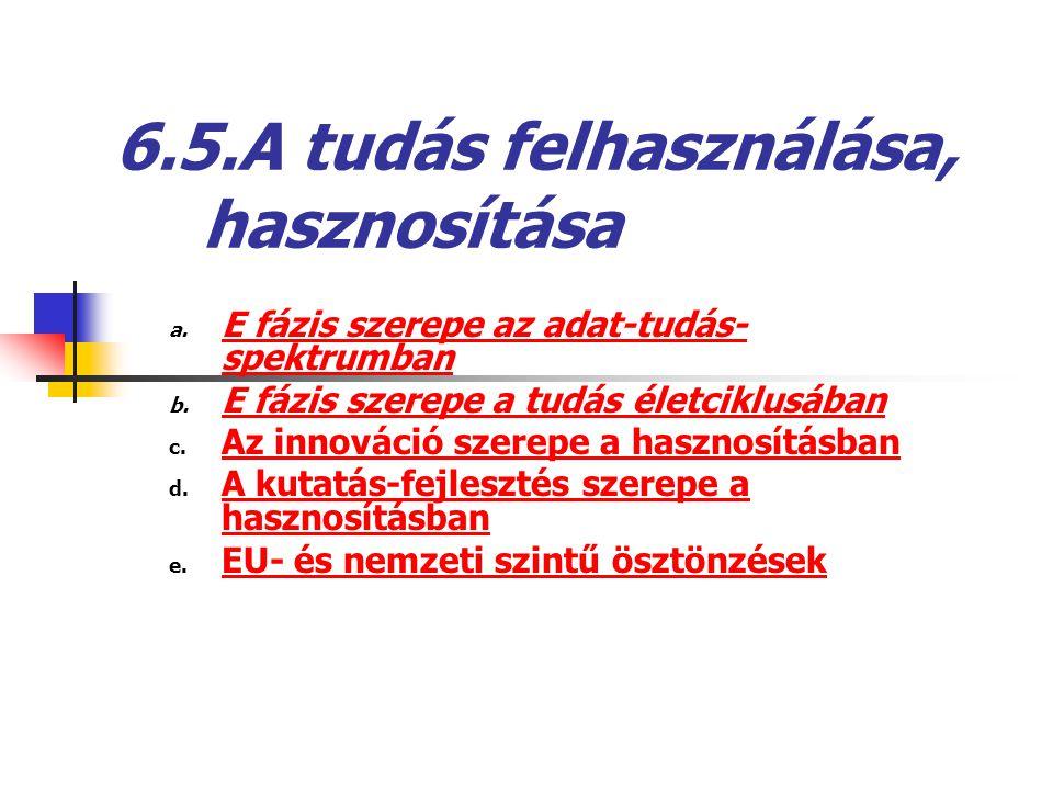 6.5.A tudás felhasználása, hasznosítása