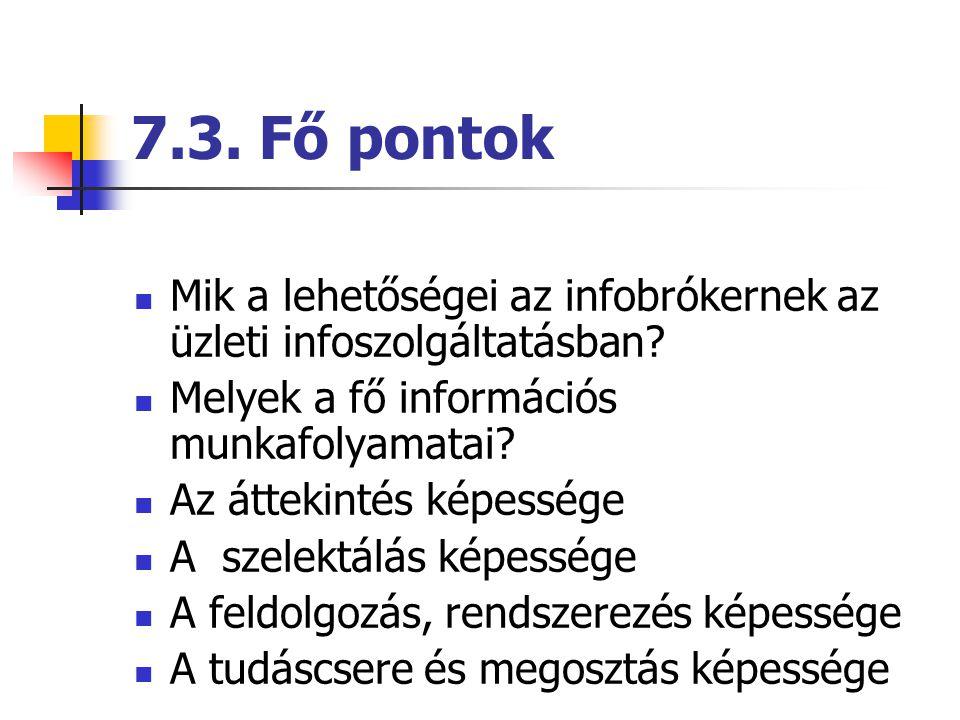 7.3. Fő pontok Mik a lehetőségei az infobrókernek az üzleti infoszolgáltatásban Melyek a fő információs munkafolyamatai