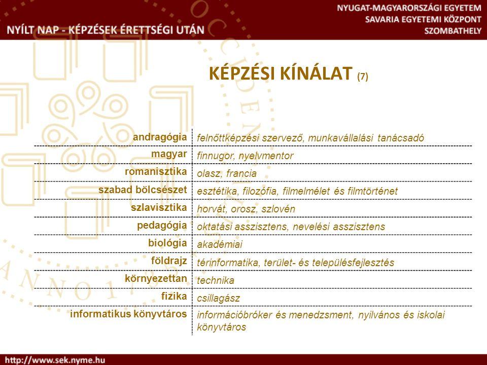 KÉPZÉSI KÍNÁLAT (7) andragógia. felnőttképzési szervező, munkavállalási tanácsadó. magyar. finnugor, nyelvmentor.