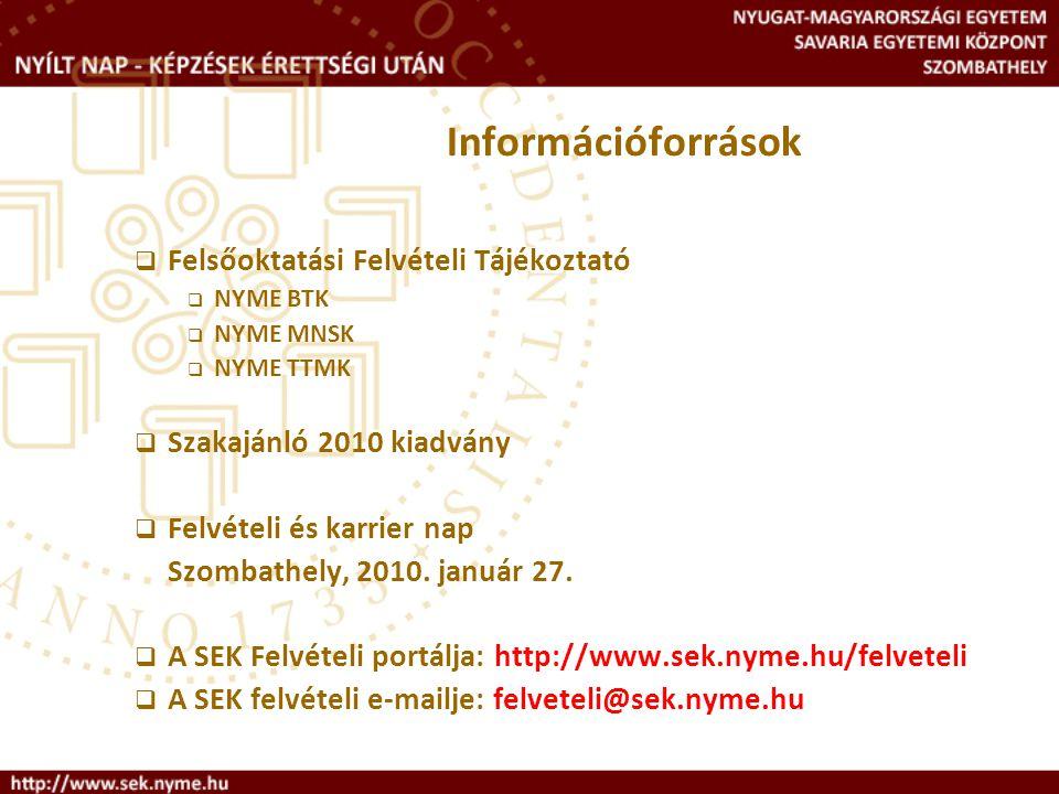 Információforrások Felsőoktatási Felvételi Tájékoztató