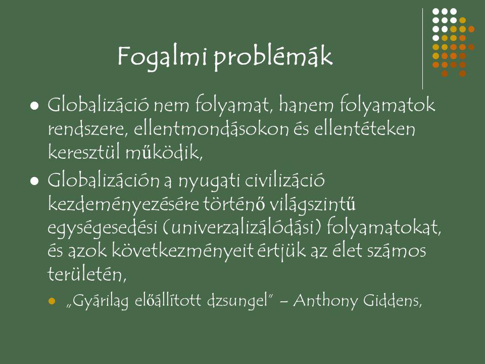 Fogalmi problémák Globalizáció nem folyamat, hanem folyamatok rendszere, ellentmondásokon és ellentéteken keresztül működik,