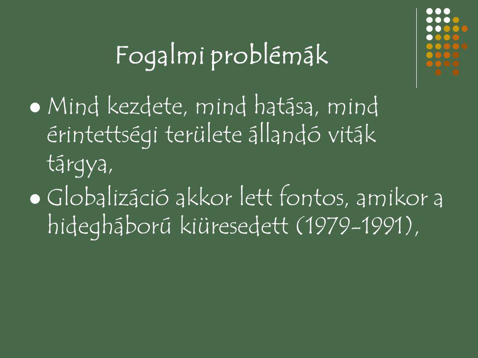 Fogalmi problémák Mind kezdete, mind hatása, mind érintettségi területe állandó viták tárgya,
