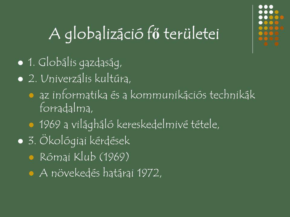 A globalizáció fő területei