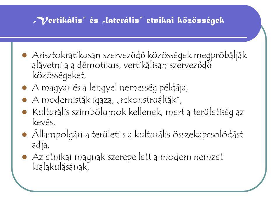 """""""Vertikális és """"laterális etnikai közösségek"""