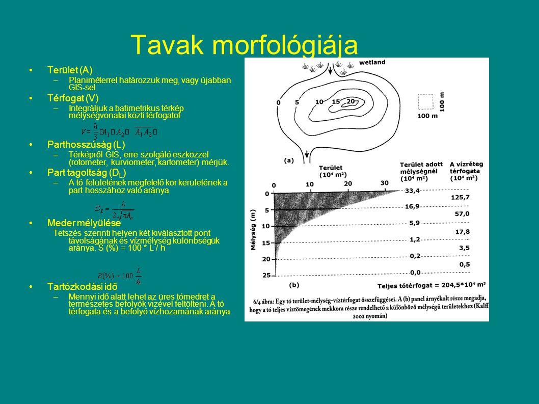 Tavak morfológiája Terület (A) Térfogat (V) Parthosszúság (L)