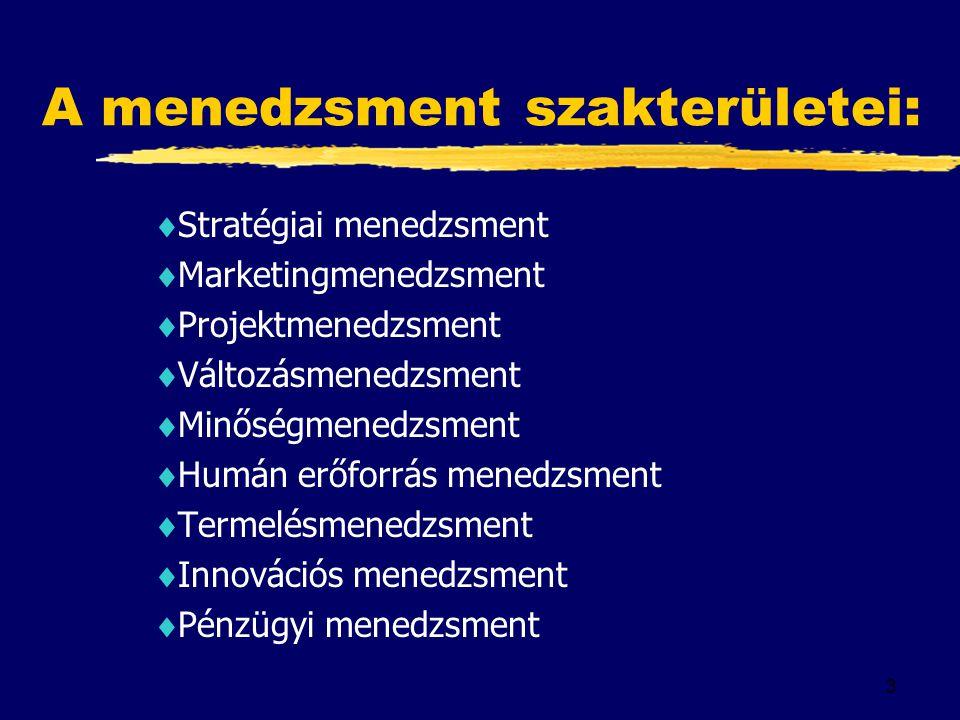 A menedzsment szakterületei: