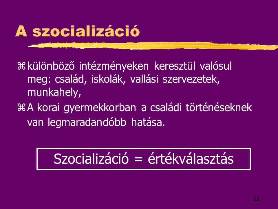 Szocializáció = értékválasztás
