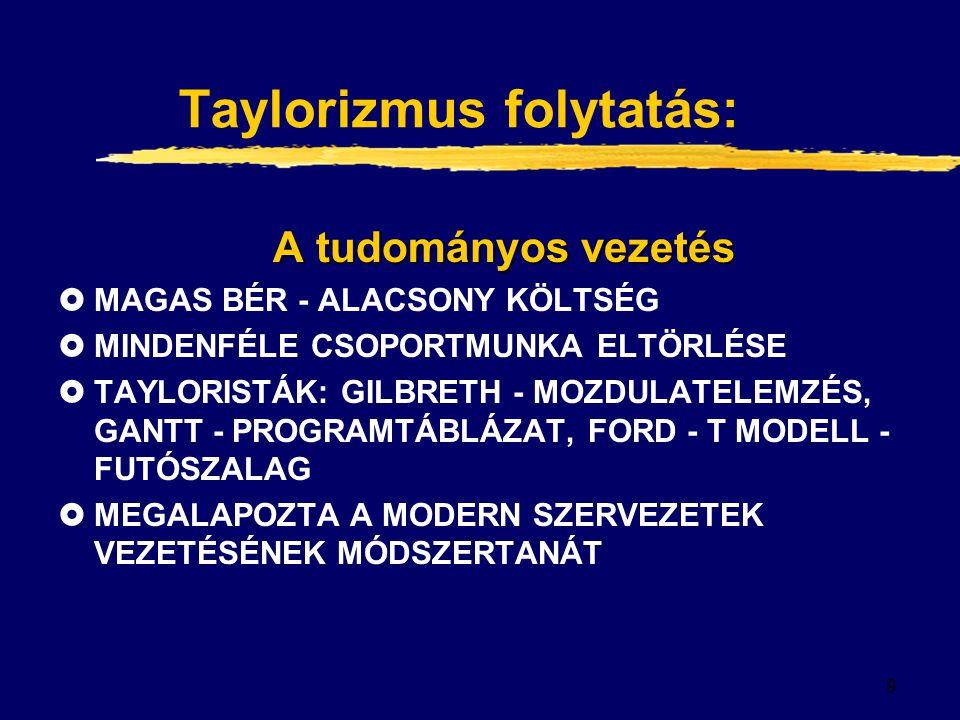 Taylorizmus folytatás: