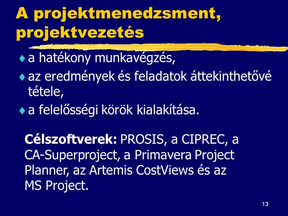 A projektmenedzsment, projektvezetés