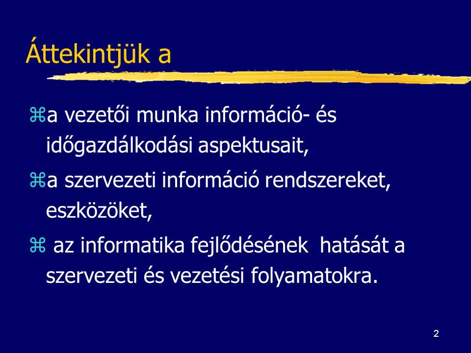 Áttekintjük a a vezetői munka információ- és időgazdálkodási aspektusait, a szervezeti információ rendszereket, eszközöket,