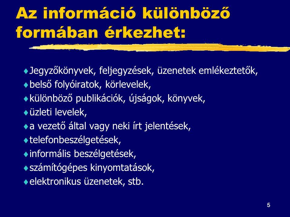 Az információ különböző formában érkezhet: