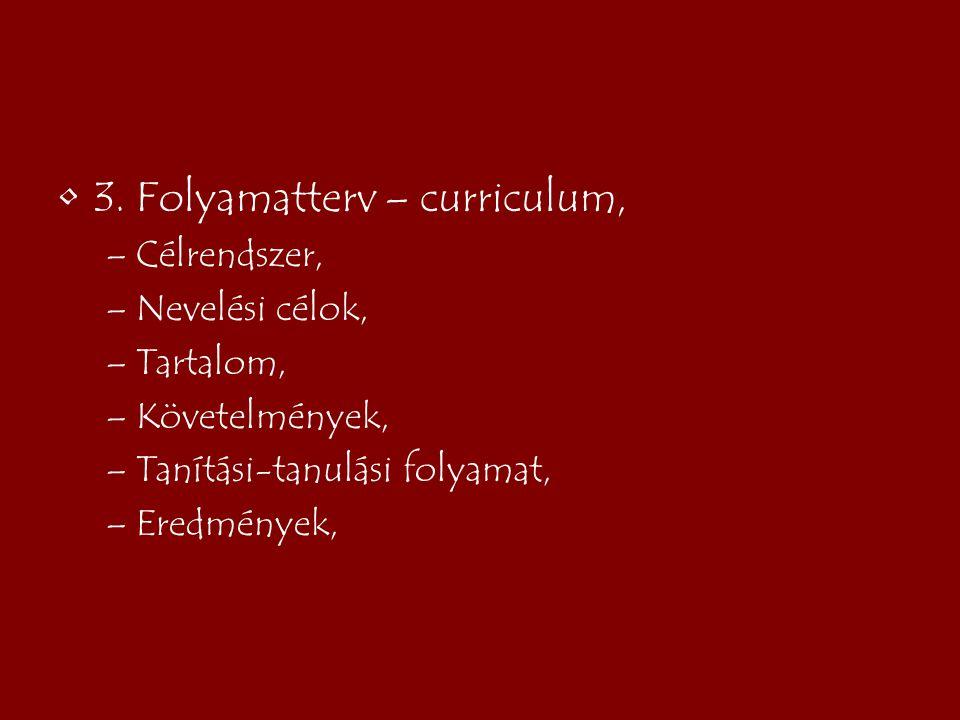 3. Folyamatterv – curriculum,