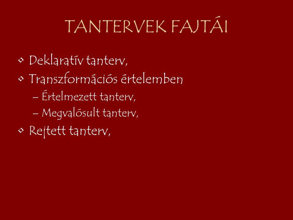 TANTERVEK FAJTÁI Deklaratív tanterv, Transzformációs értelemben