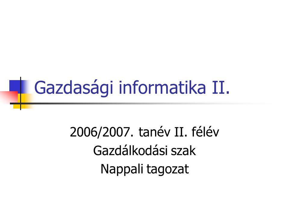 Gazdasági informatika II.