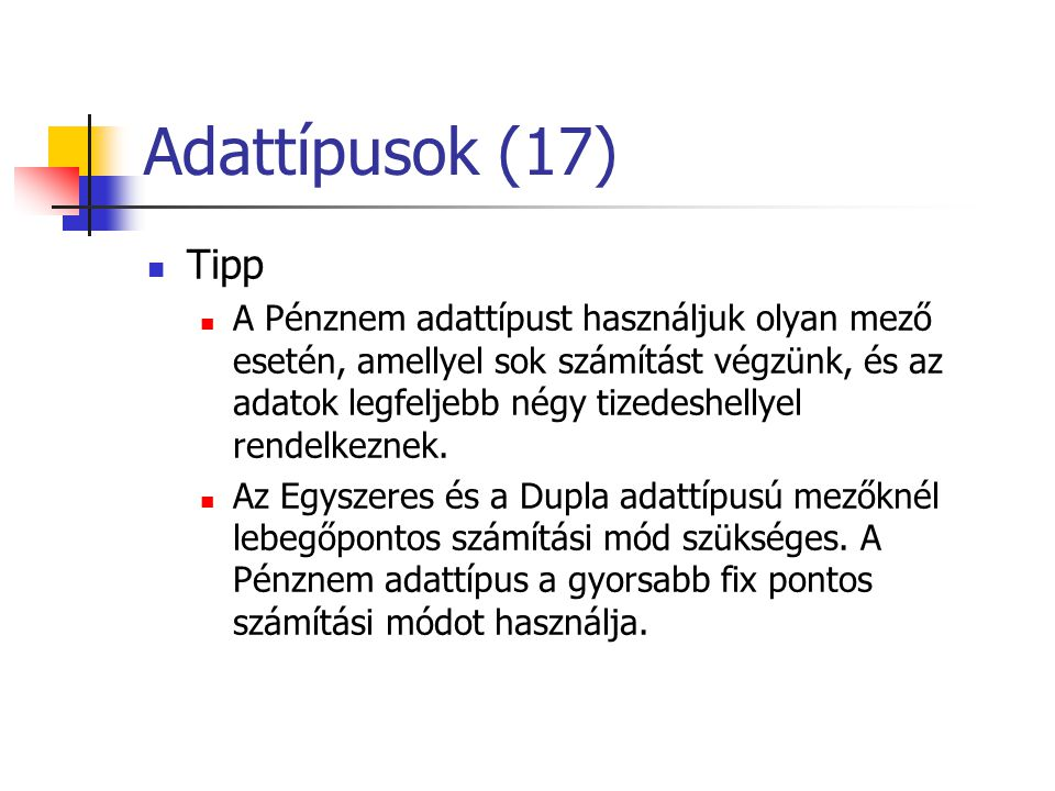 Adattípusok (17) Tipp.