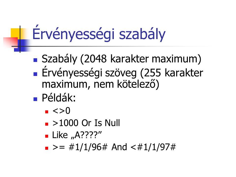 Érvényességi szabály Szabály (2048 karakter maximum)