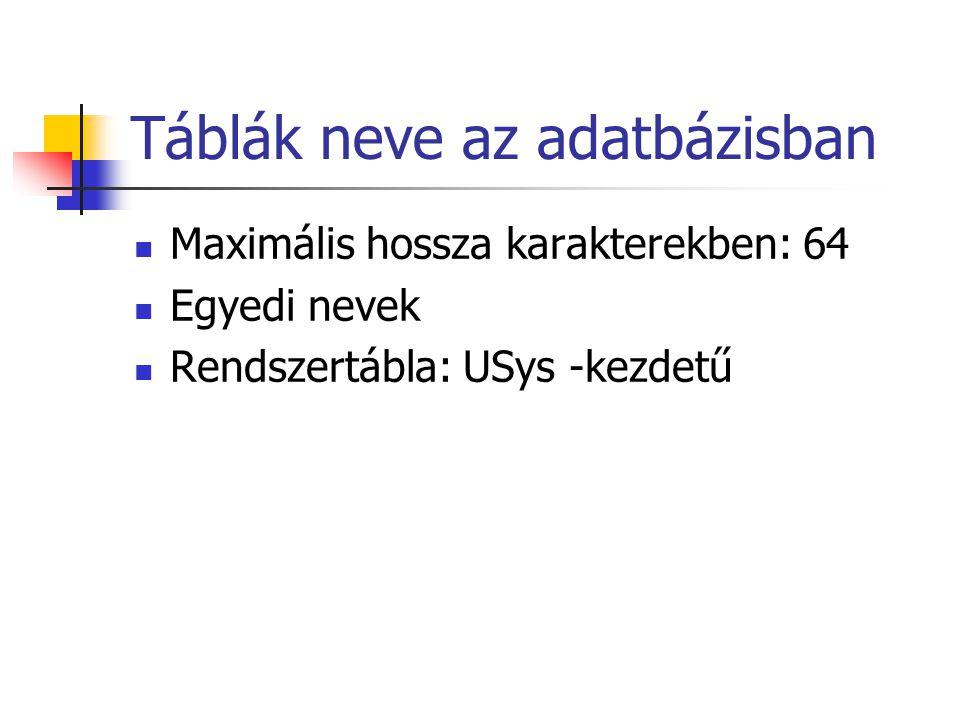 Táblák neve az adatbázisban