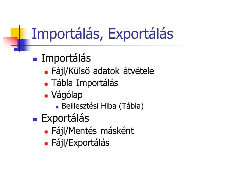 Importálás, Exportálás