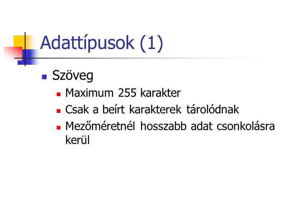 Adattípusok (1) Szöveg Maximum 255 karakter