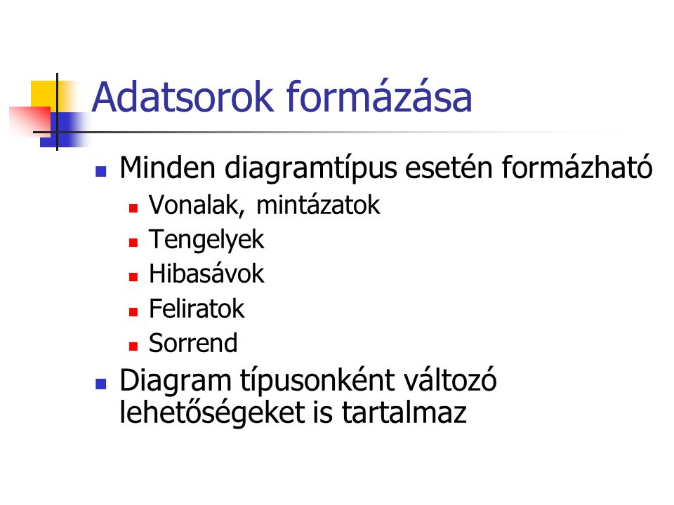 Adatsorok formázása Minden diagramtípus esetén formázható