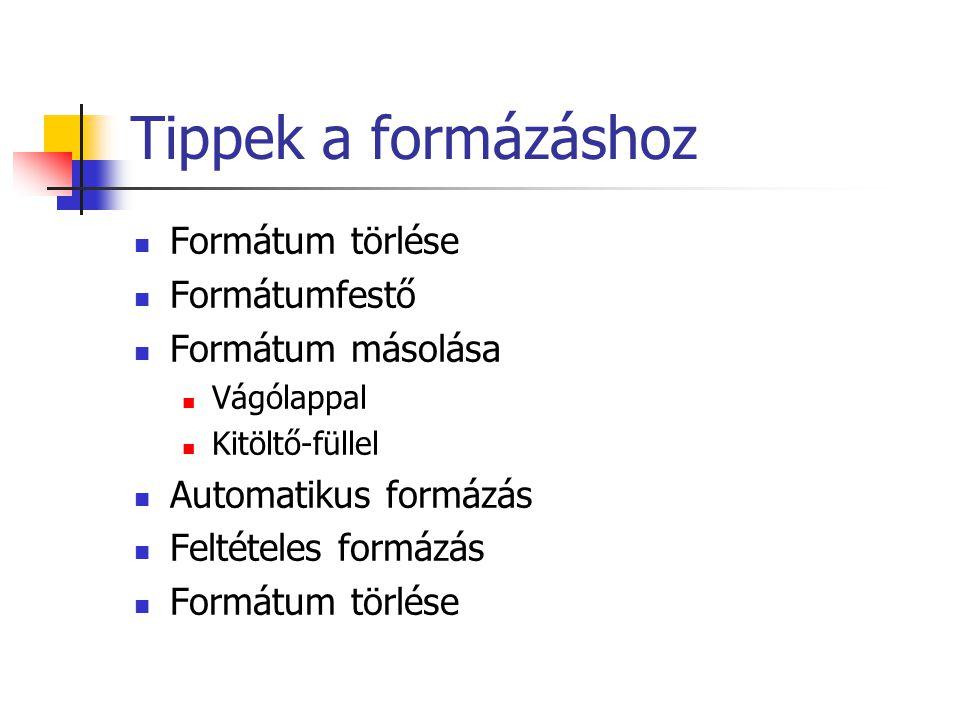 Tippek a formázáshoz Formátum törlése Formátumfestő Formátum másolása
