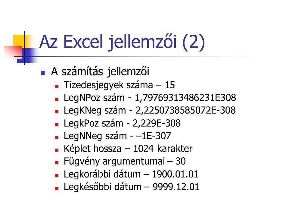 Az Excel jellemzői (2) A számítás jellemzői Tizedesjegyek száma – 15