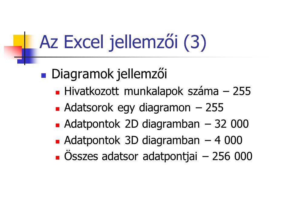 Az Excel jellemzői (3) Diagramok jellemzői