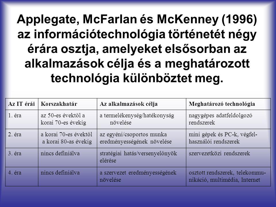 Applegate, McFarlan és McKenney (1996) az információtechnológia történetét négy érára osztja, amelyeket elsősorban az alkalmazások célja és a meghatározott technológia különböztet meg.