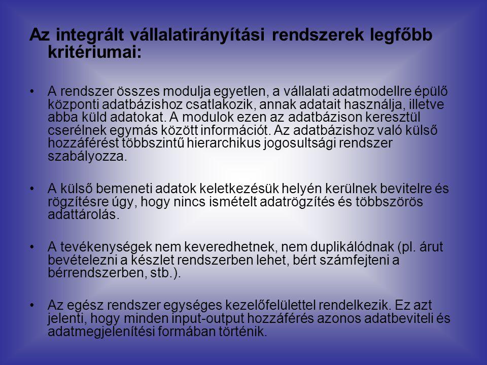 Az integrált vállalatirányítási rendszerek legfőbb kritériumai: