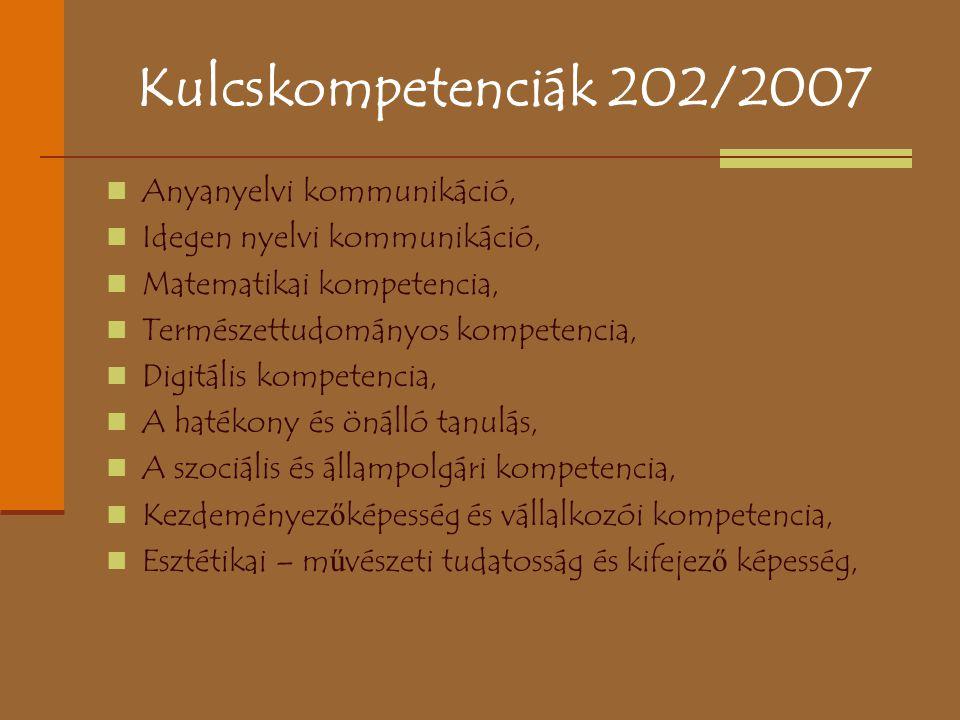Kulcskompetenciák 202/2007 Anyanyelvi kommunikáció,