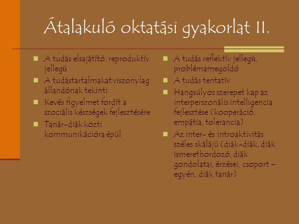 Átalakuló oktatási gyakorlat II.