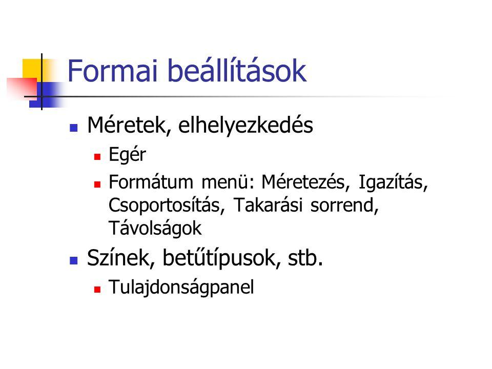 Formai beállítások Méretek, elhelyezkedés Színek, betűtípusok, stb.
