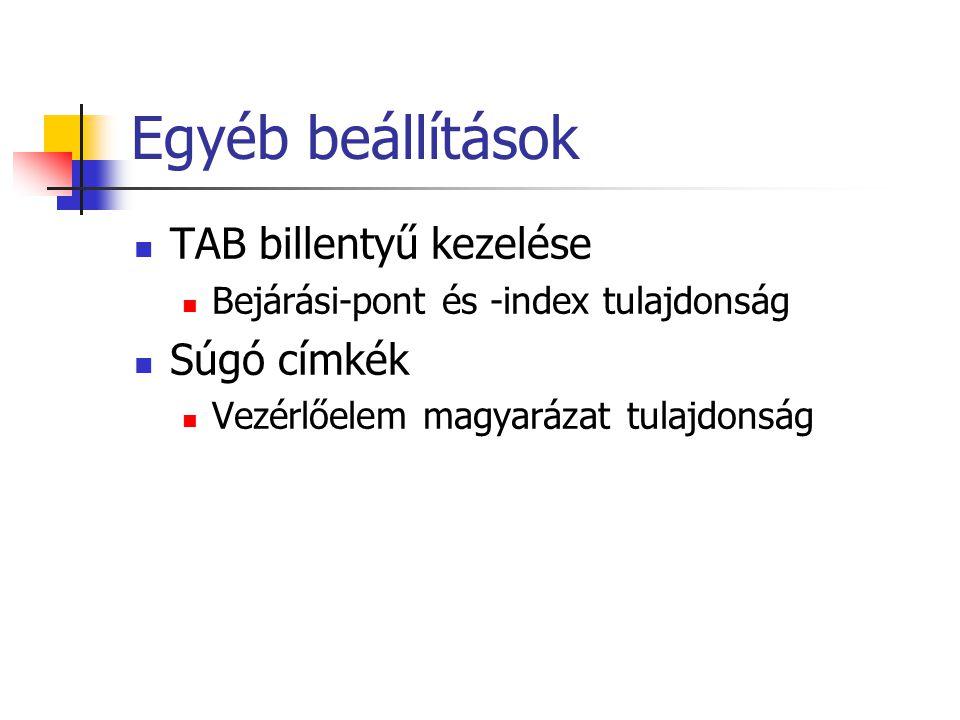 Egyéb beállítások TAB billentyű kezelése Súgó címkék