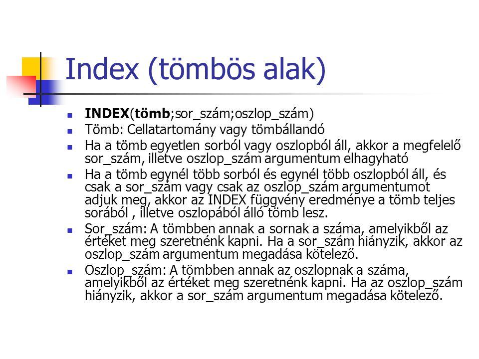 Index (tömbös alak) INDEX(tömb;sor_szám;oszlop_szám)
