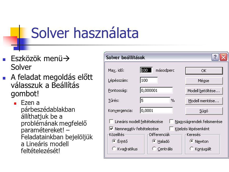 Solver használata Eszközök menü Solver