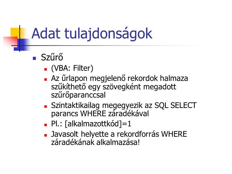 Adat tulajdonságok Szűrő (VBA: Filter)