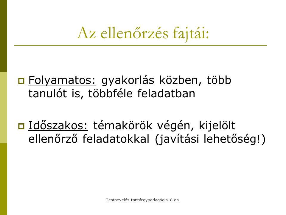 Testnevelés tantárgypedagógia 8.ea.