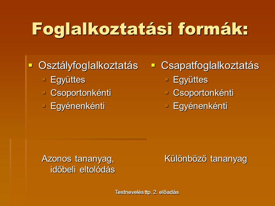 Foglalkoztatási formák:
