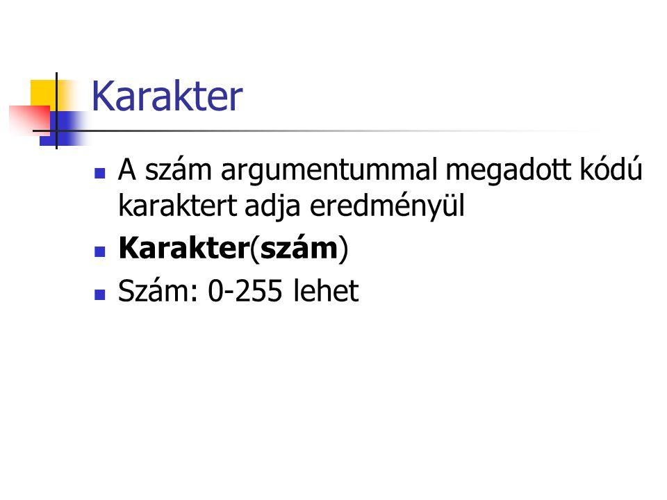 Karakter A szám argumentummal megadott kódú karaktert adja eredményül