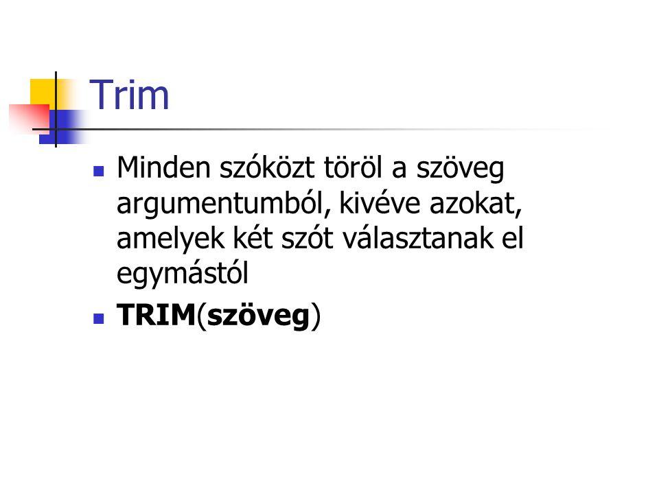 Trim Minden szóközt töröl a szöveg argumentumból, kivéve azokat, amelyek két szót választanak el egymástól.