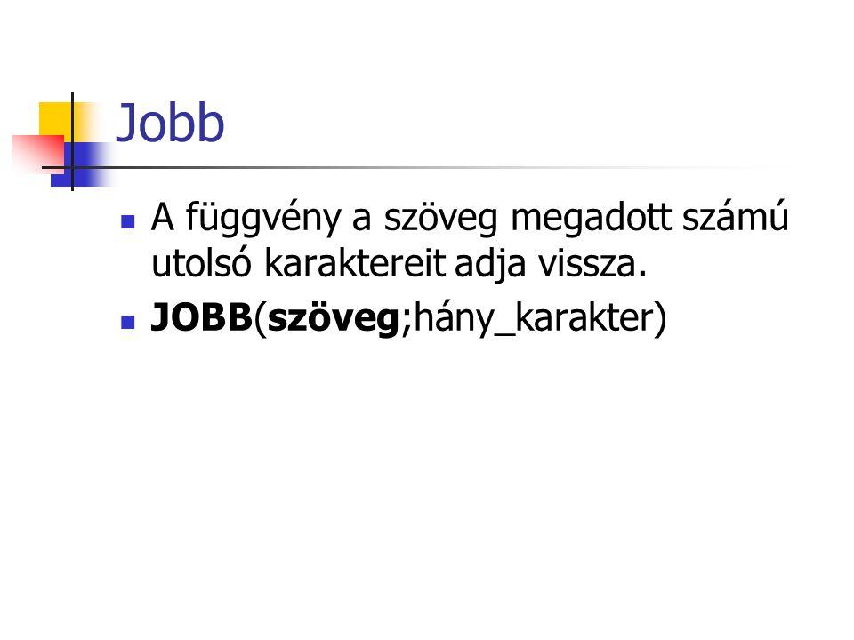 Jobb A függvény a szöveg megadott számú utolsó karaktereit adja vissza. JOBB(szöveg;hány_karakter)