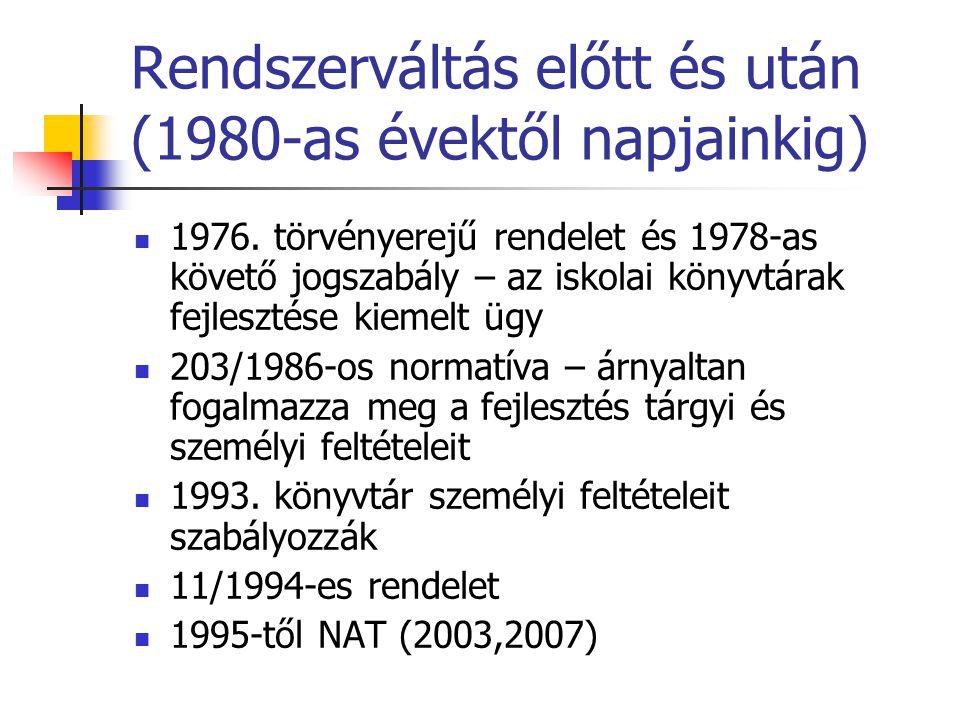 Rendszerváltás előtt és után (1980-as évektől napjainkig)